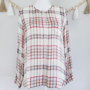 Joie NWOT Silk Plaid Button Front Top Red White M